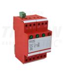 Descarcator de supratens.,AC, cl.3, unitar cu soclul, 3 mod TTV3-10-3P+N/PE 230/400 V, 50 Hz, 5/10 kA (8/20 us), 3P+N/PE