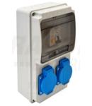 Cutie de distributie cu protectie TDB02-6MV Prot.: RCBO, Out: 2×SCHUKO