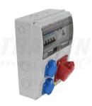 Cutie de distributie ind.cu protectie, complet echipata TDB10-11MV Prot.: RCCB, MCB, Out: 2×SCHUKO+1×32A(3P+N+E)