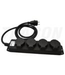Prelungitor portabil cu cablu din cauciuc, negru KE4-3M 16A/250VAC, IP44, H07RN-F, 3G1.5, 3m, 4×SCHUKO
