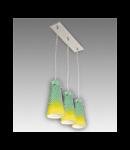 Lustra Equa 13 cu 3 becuri Brilux crom satin / verde-galben