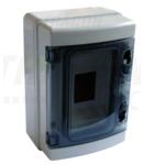 Cutie de distributie PT, usa transparenta, bareta N/PE EDFKIP65-4/1 1×4 mod, H×W×D=210×140×100mm, IP65, 660V AC