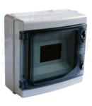 Cutie de distributie PT, usa transparenta, bareta N/PE EDFKIP65-8/1 1×8 mod, H×W×D=210×215×100mm, IP65, 660V AC