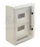 Cutie distributie modulara din mat.plastic, usa transparenta TME403017MT 2×12 mod, H×W×D=400×300×165mm, IP65, IK10, 1000V AC/DC