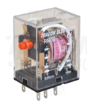 Releu miniaturizat RM09-12AC 12V AC / 2×CO, (3A, 230V AC / 28V DC)