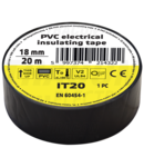 Banda izolatoare, neagra IT20 20m×18mm, PVC, 0-80°C, 5.5kV/mm