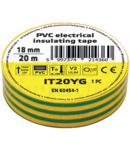 Banda izolatoare, verde-galben IT20YG 20m×18mm, PVC, 0-80°C, 5.5kV/mm