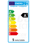 Sursa spot cu LED SMD, cu carcasa din material plastic SMDGU105NW 230 V, 50 Hz, GU10, 5 W, 320 lm, 4000 K, 120°, EEI=A+