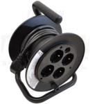 Prelungitor mini pe tambur, cucadru metalic KD-4/15-B 4×SHUKO, 15m, 250V AC, 13A, 3×1,5mm2, H05VV-F, IP20