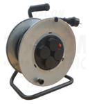 Prelungitor pe tambur, cadru metalic KD-6/25-R 4×SHUKO, 25m, 250V AC, 16A, 3×2,5mm2, H07RN-F, IP44