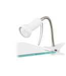 Lampa cu clama FABIO alb, silver 220-240V,50/60Hz IP20