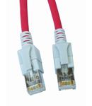 Patchcablu Cat6a cu LED ecranat RJ45 rosu 10GB 0,5m