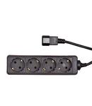 PDU pentru UPS, 4 x Schuko, 10A, cablu 1.1m C14, negru