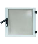 Usa transparenta dulap DW 6U, 600mm, RAL7035, fara broasca