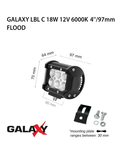 Proiector bara LED GALAXY LBL C 18W 12/24V 6000K 4``/97mm