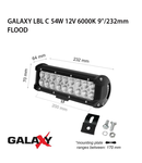 Proiector bara LED GALAXY LBL C 54W 12/24V 6000K 9``/232mm