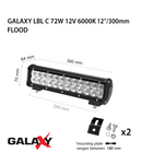 Proiector bara LED GALAXY LBL C 72W 12/24V 6000K 12``/300mm