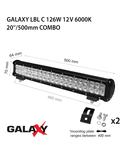 Proiector bara LED GALAXY LBL C 126W 12/24V 6000K 20``/500mm