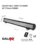 Proiector bara LED GALAXY LBL C 180W 12/24V 6000K 28``/710mm
