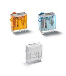Releu industrial miniaturizat - 2 contacte, 8 A, C (contact comutator), 110 V, Standard, C.C., AgNi + Au, Terminale lamelare pentru lipire (2.5x0.5)mm, Buton de test blocabil + indicator mecanic