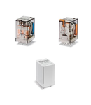 Releu de uz general miniaturizat - 4 contacte, 7 A, C (contact comutator), 125 V, C.C., AgNi + Au, Fișabil, Buton de test blocabil + LED + dioda (C.C., polaritate pozitiva la pinul A1/13) + indicator mecanic