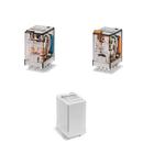 Releu de uz general miniaturizat - 3 contacte, 10 A, C (contact comutator), 240 V, Standard, C.A. (50/60Hz), AgNi, Fișabil, Buton de test blocabil + LED (C.A.)