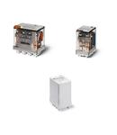 Releu de putere miniatural - 4 contacte, 12 A, C (contact comutator), 110 V, Cu adaptor de montare pe șina de 35 mm in spate, C.A. (50/60Hz), AgCdO, Fișabil, Indicator mecanic