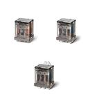 Releu de putere - 3 contacte, 16 A, C (contact comutator), 6 V, Standard, C.A. (50/60Hz), AgCdO, Faston 250 (6.3x0.8 mm) și carcasa cu flanșa de montare inspate, Buton de test blocabil + indicator mecanic