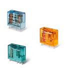 Relee Miniaturizate Implantabile (PCB) 8 - 10 - 12 - 16 A - 2 contacte, 10 A, C (contact comutator), 28 V, Standard, Sensibila in C.C., AgNi, PCB/fișabil - 5 mm intre pinii contactului, Niciuna