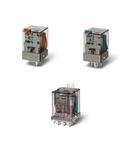 Releu de uz general - 2 contacte, 10 A, C (contact comutator), 110 V, C.C., AgNi, Fișabil, Buton de test blocabil + LED + dioda (C.C., polaritate pozitiva la pinul 2) + indicator mecanic