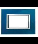 PLACA ORNAMENT 3 MODULE  blue meissen BTICINO AXOLUTE