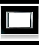 PLACA ORNAMENT 3 MODULE sticla black BTICINO AXOLUTE