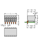 1-conductor THT female header; 1.0 mm Ø solder pin; angled; 1.5 mm²; Pin spacing 3.5 mm; 8-pole; 1,50 mm²; light gray