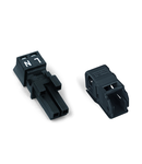 Socket; with strain relief housing; 2-pole; Cod. A; 1,50 mm²; black