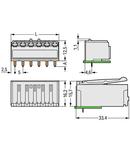 THT female header; 0.4 x 1.3 mm solder pin; angled; Pin spacing 5 mm; 6-pole; light gray