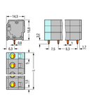 PCB terminal block; 2.5 mm²; Pin spacing 7.5 mm; 9-pole; CAGE CLAMP®; 2,50 mm²; gray