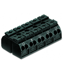4-conductor chassis-mount terminal strip; 5-pole; L3-N-PE-L1-L2; with ground contact; 4 mm²; 4,00 mm²; black