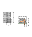 THT female header; 0.6 x 1.0 mm solder pin; angled; Pin spacing 5 mm; 18-pole; gray