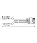 pre-assembled Y-cable; Eca; 2 x plug/socket; 3-pole + 2-pole/5-pole; Cod. A/I; H05VV-F 3G 2.5 mm²; H05VV-F 2 x 1.5 mm²; 0.5 m; 2,50 mm²; black/blue