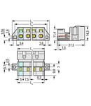 1-conductor male connector; 100% protected against mismating; clamping collar; 2.5 mm²; Pin spacing 2.5 mm; 2-pole; 2,50 mm²; light gray