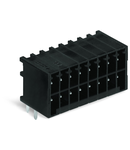 THR male header, 2-row; 0.8 x 0.8 mm solder pin; angled; 100% protected against mismating; Pin spacing 3.5 mm; 2 x 6-pole; black
