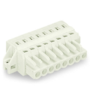 1-conductor female plug; 100% protected against mismating; clamping collar; 2.5 mm²; Pin spacing 5 mm; 10-pole; 2,50 mm²; light gray
