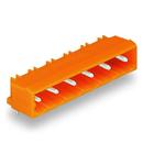THT male header; 1.2 x 1.2 mm solder pin; angled; Pin spacing 7.62 mm; 10-pole; orange