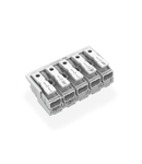 Lighting connector; push-button, external; without ground contact; L´-N´-L-PE-N; 5-pole; Lighting side: for solid conductors; Inst. side: for all conductor types; max. 2.5 mm²; Surrounding air temperature: max 85°C (T85); 2,50 mm²; white
