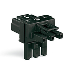 T-distribution connector; 3-pole; Cod. R; 1 input; 2 outputs; 3 locking levers; for flying leads; orange
