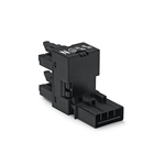 h-distribution connector; 4-pole; Cod. A; 1 input; 2 outputs; outputs on one side; 2 locking levers; black