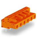 THT female header; 0.6 x 1.0 mm solder pin; angled; Pin spacing 7.62 mm; 4-pole; orange