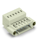1-conductor male connector; 100% protected against mismating; Threaded flange; 1.5 mm²; Pin spacing 3.5 mm; 18-pole; 1,50 mm²; light gray