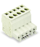 1-conductor female plug; angled; 100% protected against mismating; 2,50 mm²; light gray