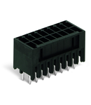 THR male header, 2-row; 0.8 x 0.8 mm solder pin; straight; 100% protected against mismating; Pin spacing 3.5 mm; 2 x 17-pole; black